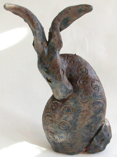 sheltering hare, stoneware, handbuilt, jane adams ceramics