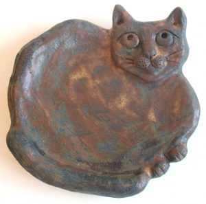 cat bowl, ceramic cat, pottery cat, jane adams ceramics