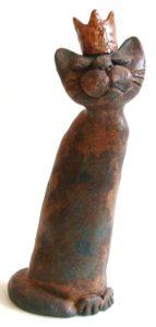 cat and crown, crown, pottery cat, handmade ceramics, jane adams ceramics