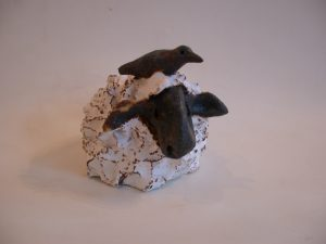 ceramic sheep. pottery, stoeware, white sheep, handmade, jane adams ceramics