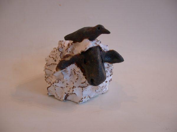 ceramic sheep. pottery, stoeware, white sheep, handmade, jane adams ceramics
