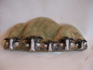 collie, border collie, dog, ceramic ornament, pottery, wall hanging, handmade, jane adams ceramics