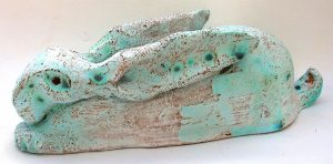 hare, ceramic hare, blue glaze, stoneware, jane adams ceramics