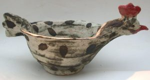 handmade bowl, ceramic bowl, chicken, jane adams ceramics