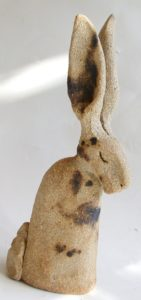 tiny ceramic hare, pottery hare, hare ornament, jane adams ceramics, clay