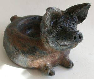 pig, candle holder, tealight holder, handmade stoneware pig. jane adams ceramics