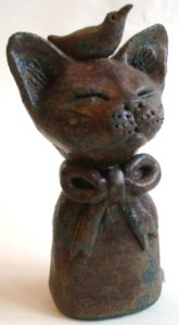 rogues gallery. ceramic cat. pottery cat, cat ornament, handmade ceramics, jane ada,s ceramics