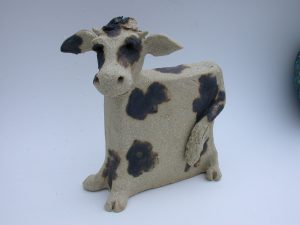 Cow, cow ornament, pottery cow, stoneware, hanmade, jane adams ceramics