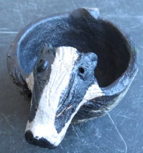badger, badgers, ceramic badgers, handmade bowl, pottery badgers, ring dish, jane adams ceramics, handmade stoneware animals