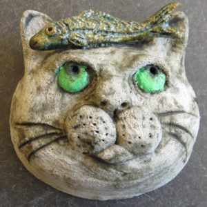 ceramic cat, cat and fish, wall hanging, ornament, pottery cat, jane adams ceramics
