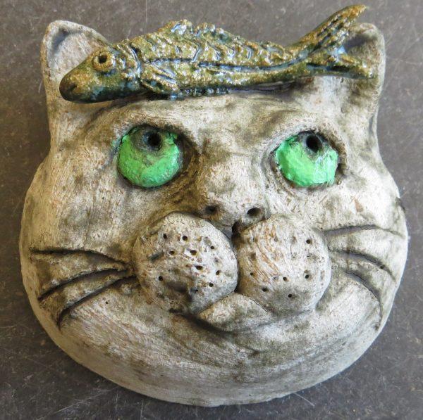 ceramic cat, cat and fish, wall hanging, ornament, pottery cat, jane adams ceramics