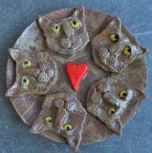 cat bowl. ceramic cat bowl, heart, pottery cat heads, pottery cat bowl, jane adams ceramics