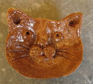 ring dish, trinket pot, cat dish, cat ornament, hand made pottery, jane adams ceramics