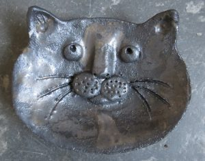 ring dish, trinket dish, cat face, cat dish, handmade, pottery, studio pottery, jane adams ceramics