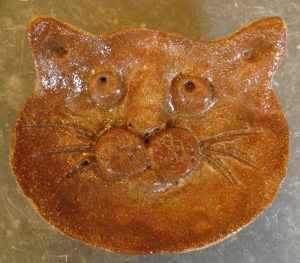 ring dish, trinket dish, ceramic cat face, hand built pottery cats, cat ornament, jane adams ceramics