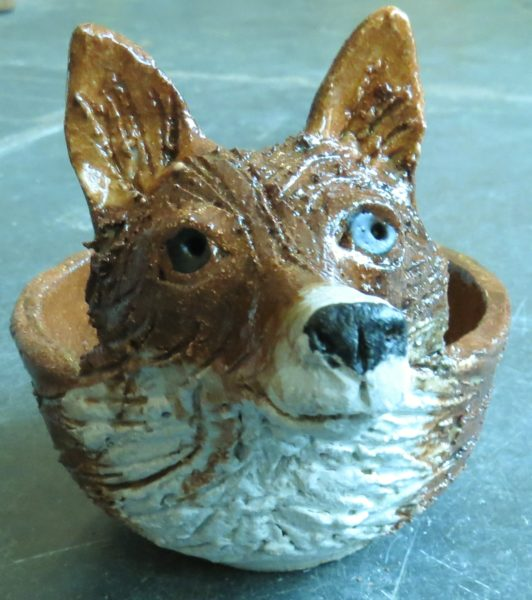 ceramic fox, fox bowl, bow, pottery fox ornament, handmade bowl, stsoneware. jane adams ceramics