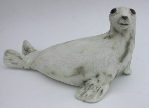 grey ceal. ceramic seal, handmade. stoneware, jane adams ceramics