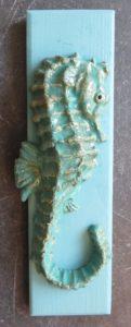seahourse, wall plaque, ceramic seahorse, seahorse ornament, handmade, jane ada,s ceramics