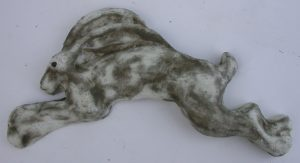 ceramic, wall plaque, running hare, leaping hare, hand made, stoneware, jane addams ceramics, pottery