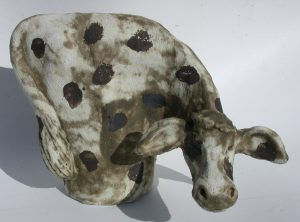 ceramic cow, cow ornaments, pottery cow, handmade stoneware, studio pottery animals, jane adams ceramics