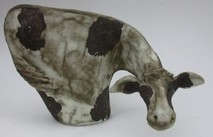 ceramic cow, frisian cow, handmade, stoneware, pottery cow, jane adams ceramics