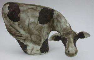 ceramic cow, frisian cow, handmade, stoneware, pottery cow, jane adams ceramics