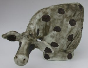 spotty cow, frisian cow, pottery cow, ceramic cow, handmade stoneware, cow, jane adams ceramics