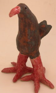 cornish chough, ceramic choughm red legs bird, stoneware, handmade, jane aams ceramics