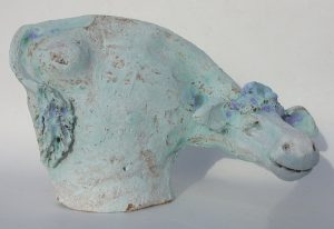 small ceramic cow, pottery cow, blue cow, jane adams ceramics, stoneware