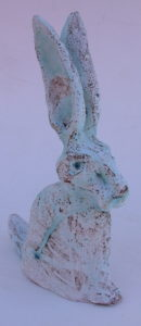 hand built stoneware hare, hare ornament, stoneware, clay, pottery hare, jane adams ceramics