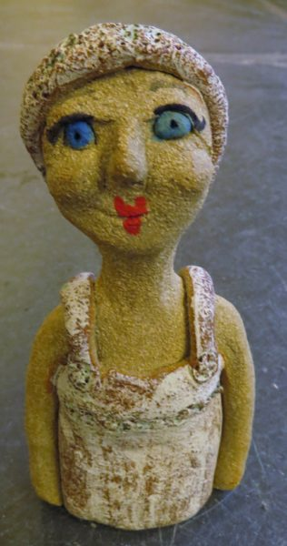 ceramic person, swimmng lady, battery rocks penzance, figurine, clay, handbuilt pottery, jane adams ceramics