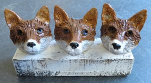 fox heads, pottery fox ornaments, ceramic foxes, jane adams ceramics, woodblock
