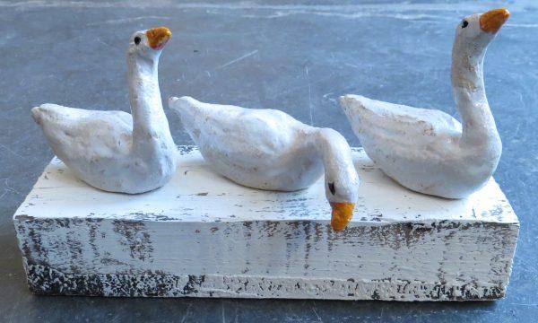 ceramic geese, woodblovk, goose, geese ornaments, pottery geese, jane adams ceramics, handmade, stoneware