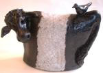 beltie, belted galloway, blavk and white, ceramic cow, pottery, stoneware, bird, jane adams ceramcs