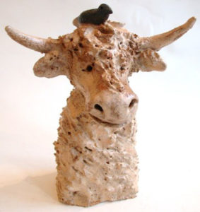 ceramic, cow, highland cow, stoneware