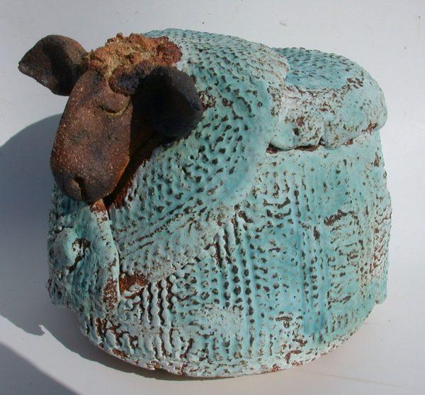 woolly jumper sheep, ceramic knitting, pottery sheep, sheep ornament, stoneware, hand made potteery sheep, jane adams ceramics