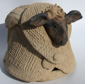 ceramic jumper, pottery sheep, sheep ornament, sheep in jumper, jane adams ceramics, hand built studio pottery