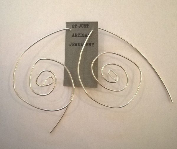 earrings, silver plated wire, earring hangers, handmade jewellery, sprial earrings, st just artisan jewellery, silver, jane adams