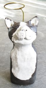 angel cat, halo, handmade pottery, pottery cat, studio ceramics, stoneware cat, black and white cat, brass, jane adams ceramics, cornwall