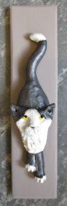 cat, ceramic cat, cat wall plaque, wall plaque, cat ornament, hand made, studio pottery, jane adams ceramics, st just, cornwall