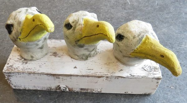 pottery seagulls, seagull heads, woodbock, pottery seagulls, ceramic seagulls, seagull ornament, jane adams ceramics, cornwall