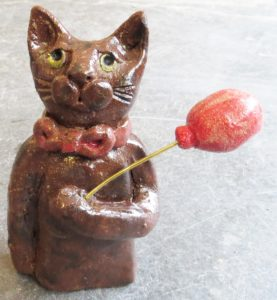 ceramic cat, handmade studio pottery, pottery cat, pottery cat ornament, cat ornament, jane adams ceramics, red balloon,