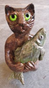 ceramic cat, big fish, pottery cat, cat ornaments, fish ornaments, rogues gallery, jane adams ceramics
