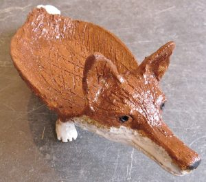 fox dish, ceramic fox, pottery fox, pottery fox ornaments, jane adams ceramics, handmade pottery, studio pottery fox