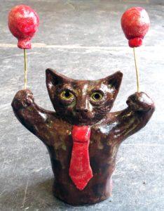 party cat, ceramic cat, cat ornament, balloons, ceramic animals, handmade pottery, pottery cats, cat ornaments, jane adams ceramics