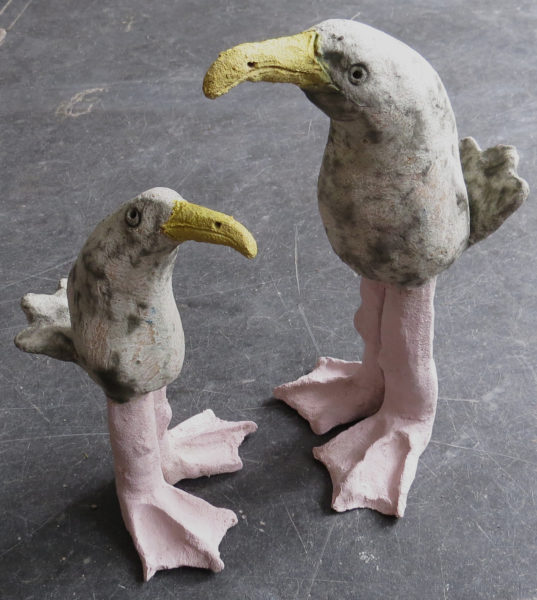 ceramic seagull, handmade pottery seagull, seagull ornament, jane adams ceramics, handmade studio pottery