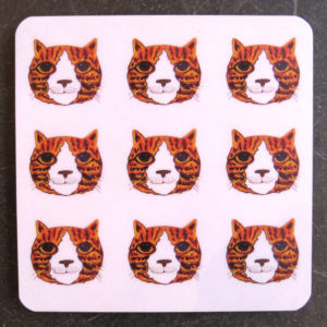 coaster, designer coaster, ginger cat coaster, cat coaster, cat gifts, jane adams ceramics