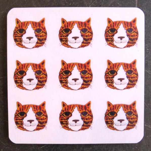 coaster, designer coaster, ginger cat coaster, cat coaster, cat gifts, jane adams ceramics