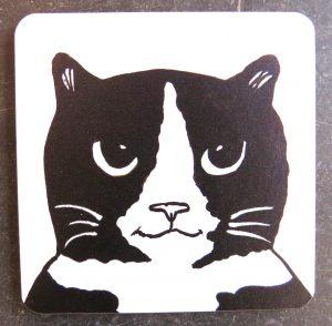 coaster, designer coaster, cat coaster, black and white cat gifts, homeware, jane adams ceramics