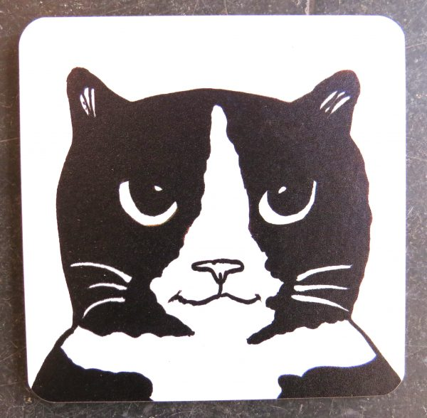 coaster, designer coaster, cat coaster, black and white cat gifts, homeware, jane adams ceramics